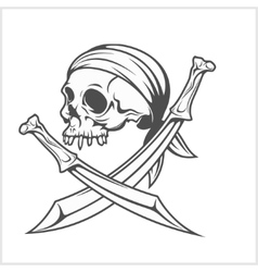 Pirate Skull in Headband with Cross Swords vector
