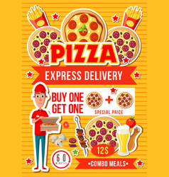 Pizza and fast food combo meals vector