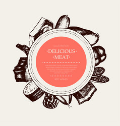 processed meat - hand drawn round banner vector image