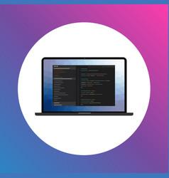 program interface icon on laptop screen vector image