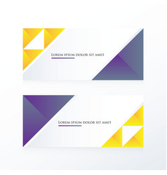 Purple yellow triangle banner vector