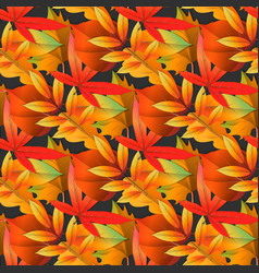 red and yellow autumn leaves seamless pattern on vector image