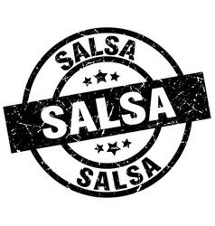 salsa round grunge black stamp vector image