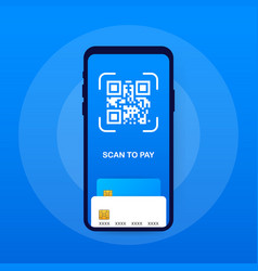 Scan to pay smartphone to scan qr code on paper vector