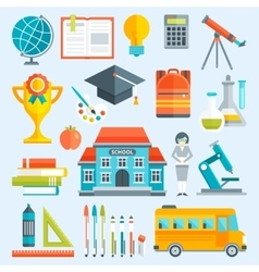School Decorative Flat Icons Set vector image