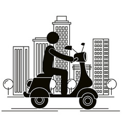 Scooter motorcycle with driver silhouette vector