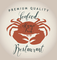 seafood menu for a restaurant or shop with crab vector image