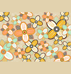 seamless flowers pattern template vector image