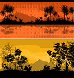 set landscapes palms and plants vector image