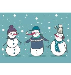 Set of 3 snowman vector image