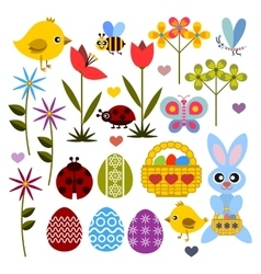 Set of flat colored icon for Easter vector image