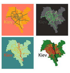 Set of map of the districts of kiev ukraine flat vector