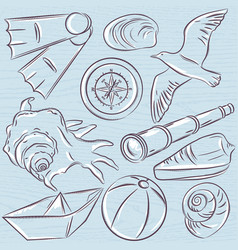 set of summer symbols boat seashell compass vector image