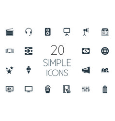 Set simple cinema icons vector