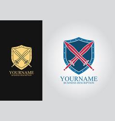 shield sword logo vector image