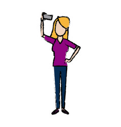 Standing young woman taking selfie cheerful casual vector