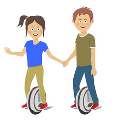 teenagers couple riding unicycle electric scooters vector image