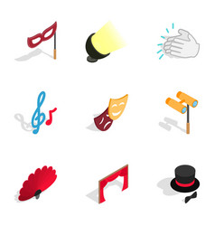 theater performance icons isometric 3d style vector image
