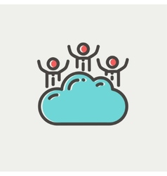 Three men on a cloud thin line icon vector