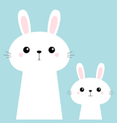 Two rabbit bunny set friends forever cute cartoon vector