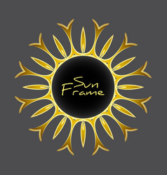 Vintage blank golden frame stylized sun rays vector