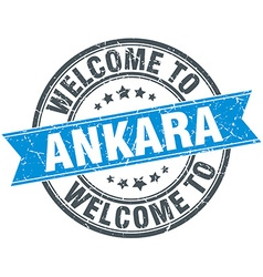 Welcome to Ankara blue round vintage stamp vector