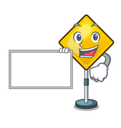With board harm warning sign shaped on cartoon vector