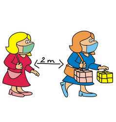 woman and shopping mask vector image