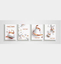 year abstract 3d snow tree card set vector image