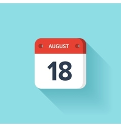August 18 isometric calendar icon with shadow vector