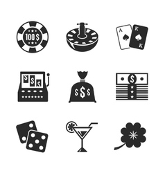 Casino iconset for design contrast flat vector image vector image