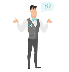 Caucasian confused groom with spread arms vector