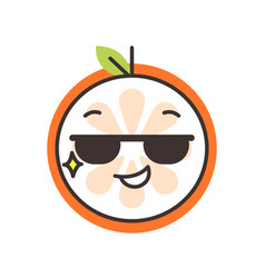 emoji - cool orange with sunglasses isolated vector image