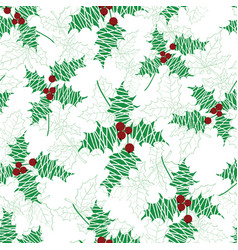 holly berry green red textured holiday vector image vector image