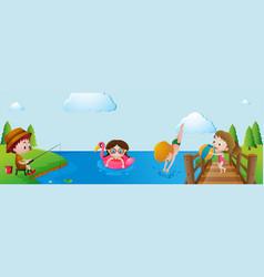 kids having fun in the river vector image