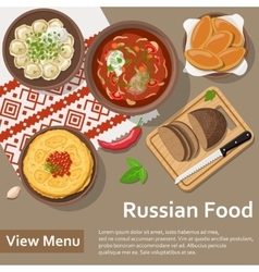 Russian food Flat Lay Style vector image vector image