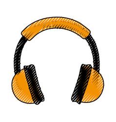 scribble headphones cartoon vector image