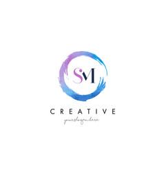 sm letter logo circular purple splash brush vector image vector image