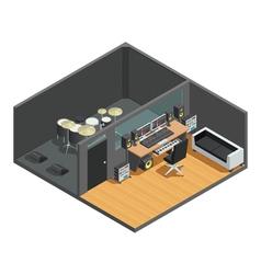 1612i101003sm004c11music studio isometric interior vector
