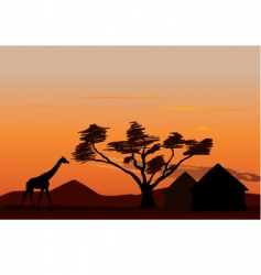 sunset in Africa vector image