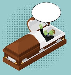 Zombies in coffin in pop art style Green dead man vector image vector image