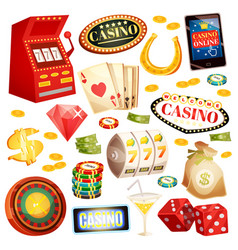 casino decorative icons set vector image vector image