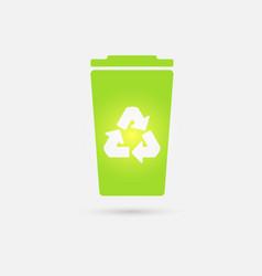 green recycle bin icon vector image