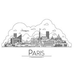 line art Paris France travel landmarks icon vector image