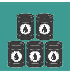 Oil barrel set with oil drop sign icon Isolated vector image
