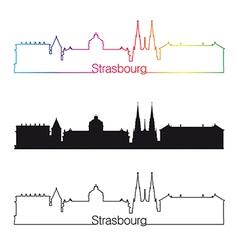 Strasbourg skyline linear style with rainbow vector image vector image