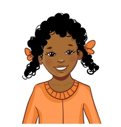 Teenager African American girl with curly hair vector image