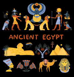 ancient egypt decorative icons set vector image