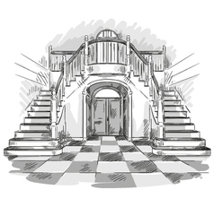 spacious hall and staircase drawing vector image vector image