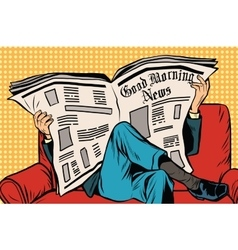 The morning paper reads man vector image
